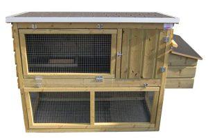 Huismerk kippenhok met ren en legbak 150