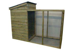 Huismerk kippenhok met ren hoog model 245 open