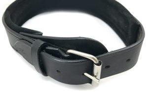 Lederen halsband XL zwart