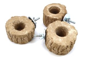 Jelly Cups fruitkuipjes houder stenen boomstam met vleugelmoer