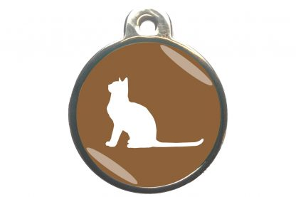 Kattenpenning met aandachtige kat - bruin