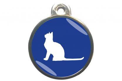 Kattenpenning met aandachtige kat - donkerblauw