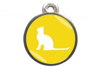 Kattenpenning met aandachtige kat - geel