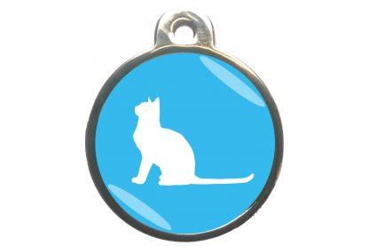 Kattenpenning met aandachtige kat - lichtblauw