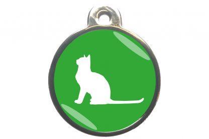 Kattenpenning met aandachtige kat - lichtgroen