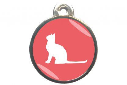 Kattenpenning met aandachtige kat - lichtroze