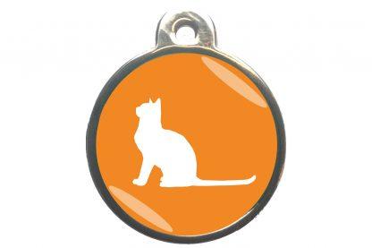 Kattenpenning met aandachtige kat - oranje
