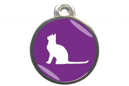 Kattenpenning met aandachtige kat - paars