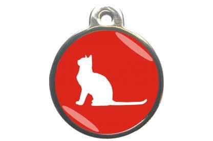 Kattenpenning met aandachtige kat - rood
