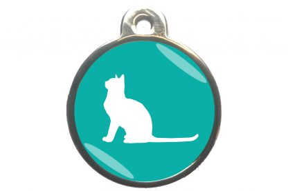Kattenpenning met aandachtige kat - turquoise