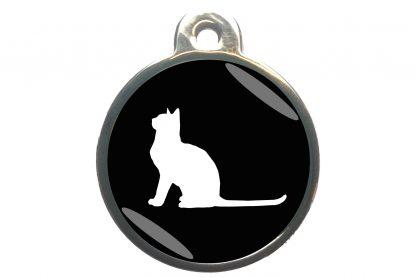 Kattenpenning met aandachtige kat - zwart