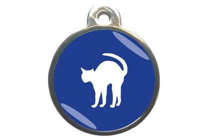 Kattenpenning bange kat - donkerblauw