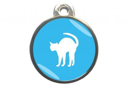 Kattenpenning bange kat - lichtblauw
