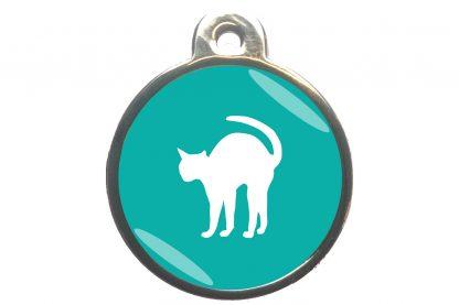 Kattenpenning bange kat - turquoise
