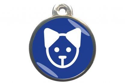 Kattenpenning kattenkop - donkerblauw