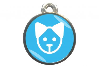Kattenpenning kattenkop - lichtblauw