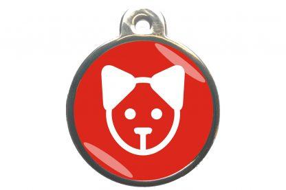 Kattenpenning kattenkop - rood