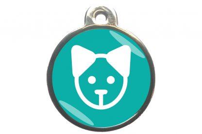 Kattenpenning kattenkop - turquoise