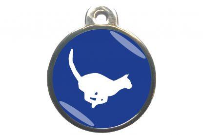 Kattenpenning rennende kat - donkerblauw