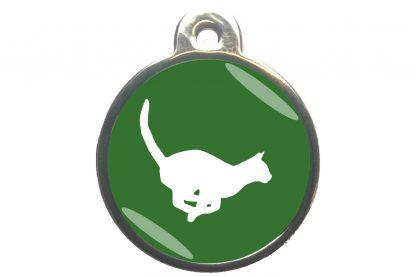 Kattenpenning rennende kat - donkergroen