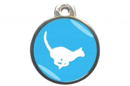 Kattenpenning rennende kat - lichtblauw