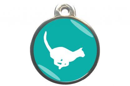 Kattenpenning rennende kat - turquoise