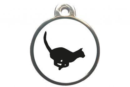 Kattenpenning rennende kat - wit