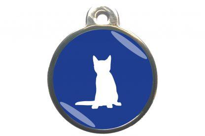 Kattenpenning zittende kat - donkerblauw