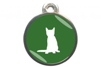 Kattenpenning zittende kat - donkergroen