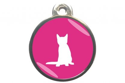 Kattenpenning zittende kat - donkerroze