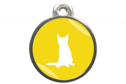 Kattenpenning zittende kat - geel