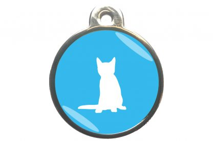 Kattenpenning zittende kat - lichtblauw