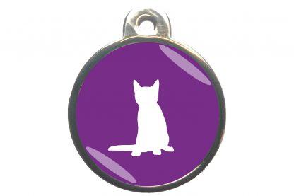 Kattenpenning zittende kat - paars