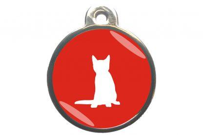 Kattenpenning zittende kat - rood