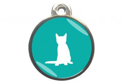 Kattenpenning zittende kat - turquoise