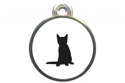 Kattenpenning zittende kat - wit