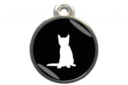 Kattenpenning zittende kat - zwart