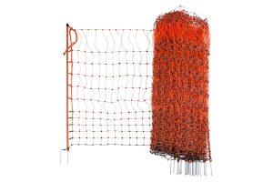 Elektrificeerbaar afrasteringsnet voor pluimvee oranje