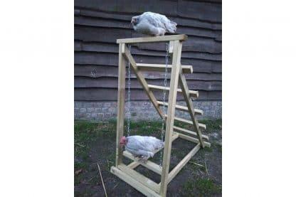 Een stevige kippenschommel uit eigen productie gemaakt van hout, eenvoudig te plaatsen in elke bestaand kippenverblijf.