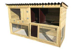 Maatwerk dubbel konijnenhok met gescheiden ren