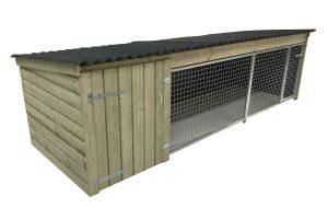 Maatwerk extra lang laag model houten hondenkennel