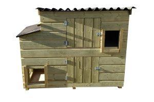 Maatwerk kippen nachthok met meerdere openingen