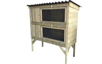 Maatwerk konijnenflat 2-laags met schuin dak