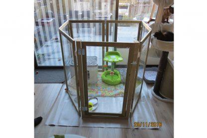 Maatwerk puppyren plexiglas in hout