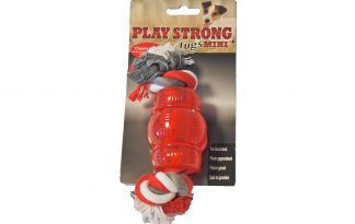 Play Strong rubber Mini Chew met flostouw