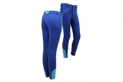 QHP rijbroek Junior Kobaltblauw/Turquoise