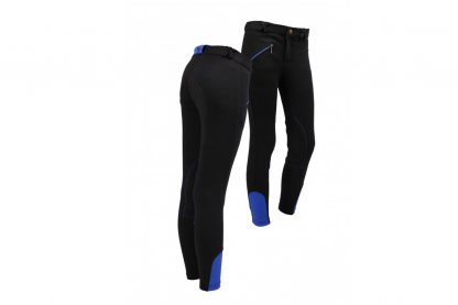 QHP rijbroek Junior Zwart/Kobaltblauw