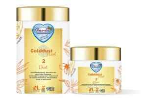Renske Golddust Dieet bevat veel natuurlijk aanwezige vitaminen, mineralen, aminozuren en essentiële vetzuren en vezels.
