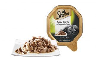 Sheba Mini Filets in Saus Konijn en Wild is een luxe mix van malse reepjes in een overheerlijke saus. Het perfecte recept om jouw lieveling te verwennen. Heerlijk mals vlees in lekkere saus om dagelijks van te smullen.
