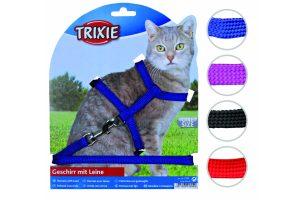 Trixie harnas kat met lijn, effen kleur